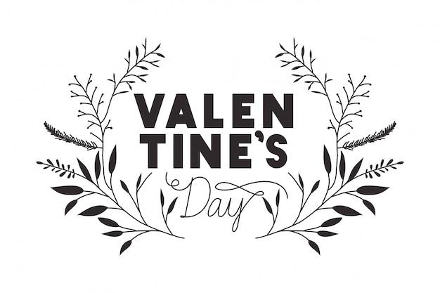 Dia dos namorados, etiqueta, com, flor, coroa, ícones