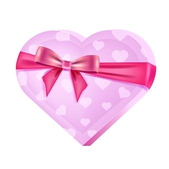 Dia dos namorados feriado caixa-de-rosa em forma de coração com doces, fita, arco isolado no branco. ilustração de pacote fechado presente romântico. presente de feriado, caixa surpresa em forma de coração com fundo transparente