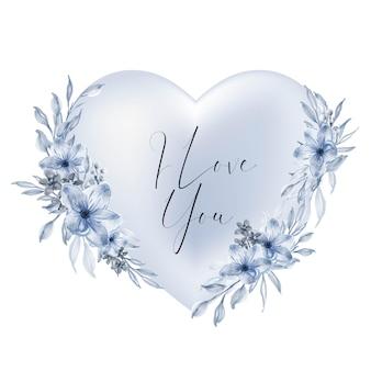 Dia dos namorados forma de coração azul eu te amo palavras com flores em aquarela e folhas