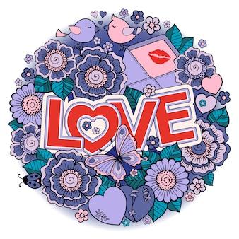 Dia dos namorados forma redonda feita de flores abstratas, borboletas, pássaros se beijando e a palavra amor