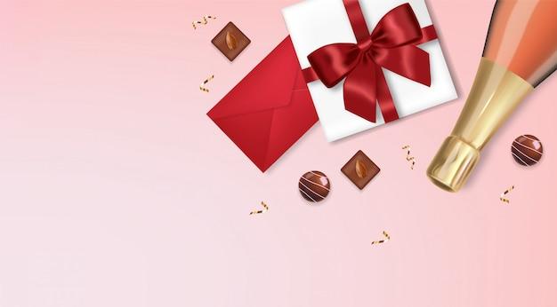 Dia dos namorados, garrafa de champanhe romântica e realista, presente, envelope de chocolate e vermelho, fundo rosa, conceito de amor