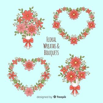 Dia dos namorados guirlanda floral e coleção de buquês