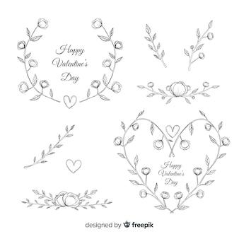 Dia dos namorados guirlanda floral e coleção de decorações