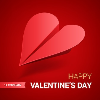 Dia dos namorados ilustração. avião de papel vermelho em forma de coração.