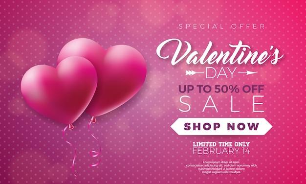 Dia dos namorados ilustração da venda com o coração no fundo vermelho
