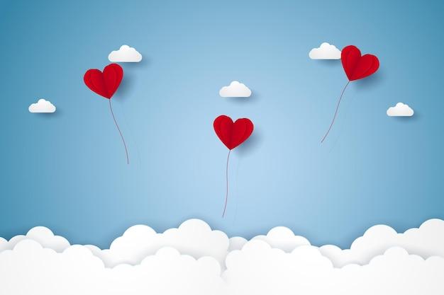 Dia dos namorados, ilustração de amor, balões de coração vermelho voando no céu, estilo de arte em papel