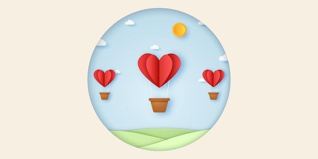 Dia dos namorados ilustração de balões de ar quente com coração vermelho voando no céu azul