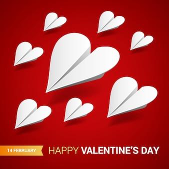 Dia dos namorados ilustração. grupo de aviões de papel branco em forma de
