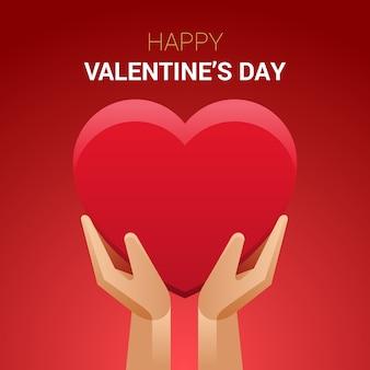 Dia dos namorados ilustração. mãos segurando um sinal de coração.