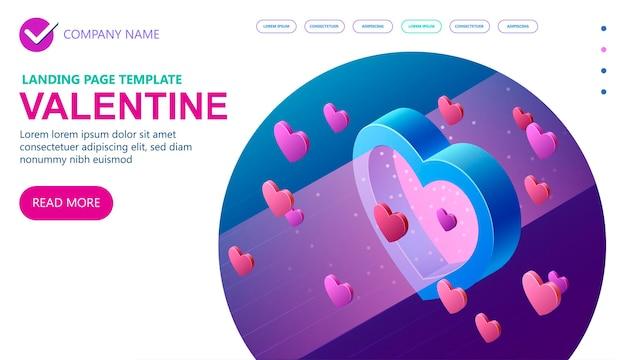 Dia dos namorados isométrico 14 de fevereiro, ilustração do conceito isométrico de vetor 3d, banner do conceito de vetor isométrico, ilustração vetorial