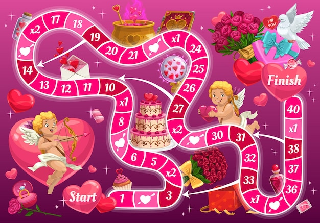 Dia dos namorados jogo de tabuleiro com personagens de desenhos animados cupido