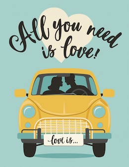 Dia dos namorados lettering cartão de saudação romântica de vetor. tudo o que você precisa é amor.