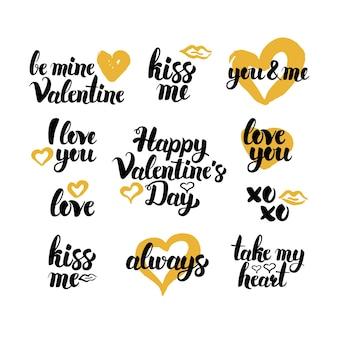 Dia dos namorados mão desenhada citações. ilustração em vetor de elementos de design de amor de letras manuscritas.