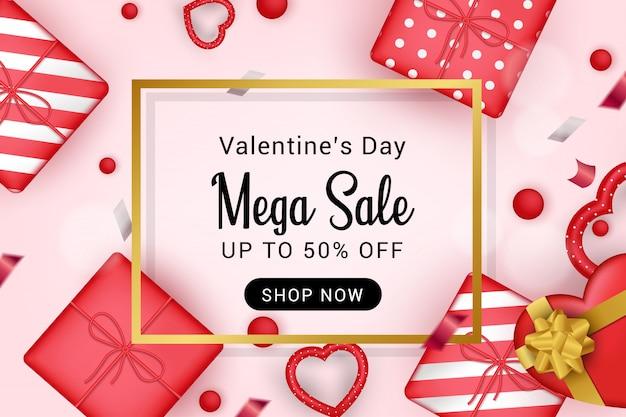 Dia dos namorados mega venda simples banner ilustração
