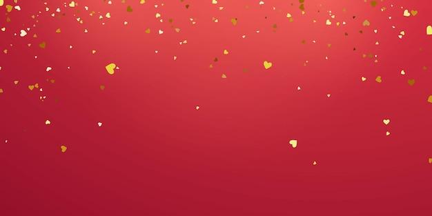 Dia dos namorados, modelo de banner. fitas de confete coração ouro.