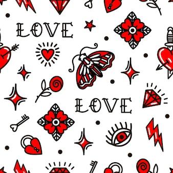 Dia dos namorados no padrão sem emenda do estilo da velha escola. ilustração vetorial. design para o dia dos namorados, palafitas, papel de embrulho, embalagens, têxteis