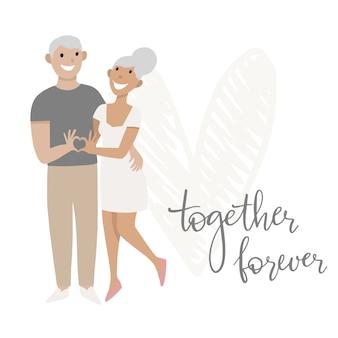Dia dos namorados. o casal apaixonado. um homem e uma mulher mostram o coração com as mãos. cartão de saudação