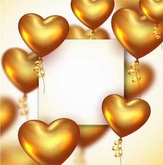 Dia dos namorados ou aniversário de fundo com balões de coração dourado realistas