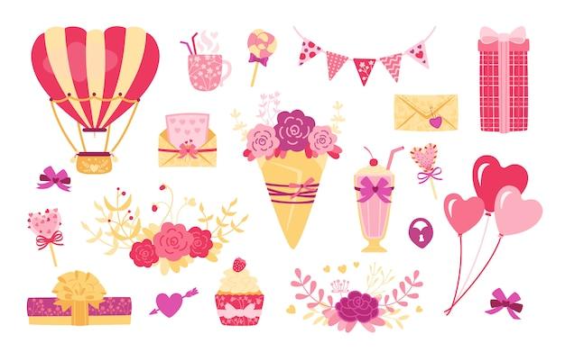 Dia dos namorados ou conjunto de desenhos animados plana de casamento. coração fofo, buquê de presente e caixas. bebida pirulito, bolas de doces desenha elementos para férias. roxo, coleção de objetos. ilustração isolada