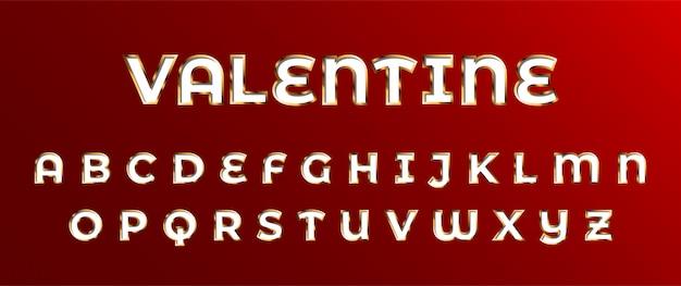 Dia dos namorados ouro decorado conjunto de fontes 3d alfabeto