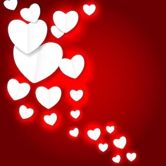 Dia dos namorados papel coração backgroung, ilustração vetorial