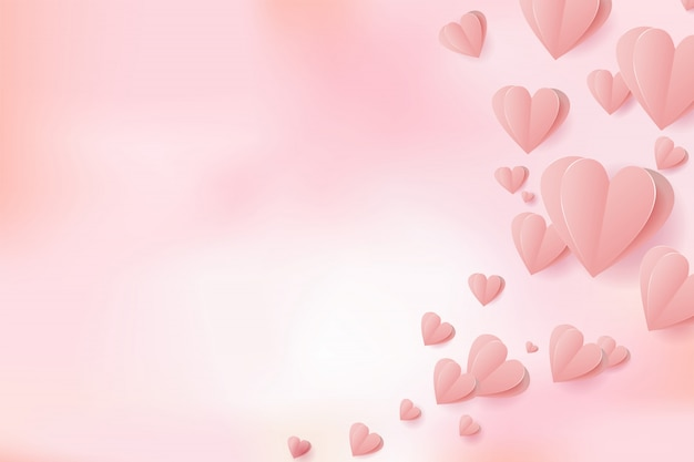 Dia dos namorados papel cortado corações voando elementos em fundo de malha rosa para cartão