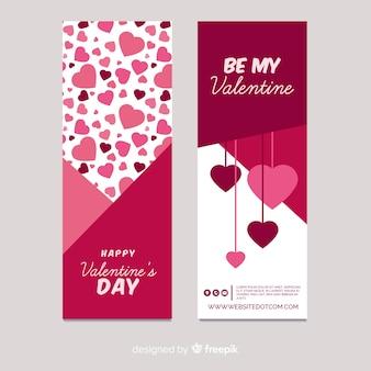 Dia dos namorados, pendurado, corações, bandeira