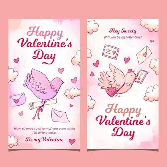 Dia dos namorados pombo carregando cartas banners