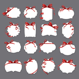 Dia dos namorados, quadros de papel de casamento em fitas vermelhas