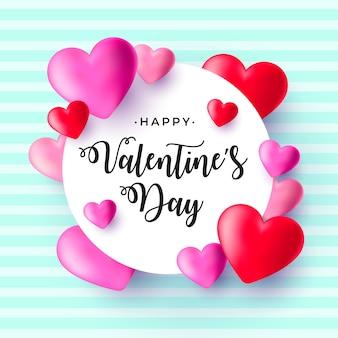 Dia dos namorados realista com corações