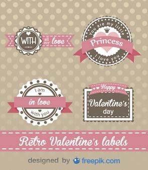 Dia dos namorados retro etiquetas projeto