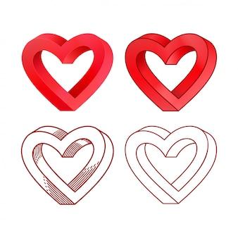 Dia dos namorados retrô linha coração conjunto de ícones.