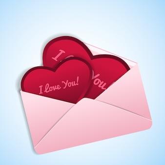 Dia dos namorados romântico em forma de coração vermelho com confissões de amor em ilustração de envelope rosa