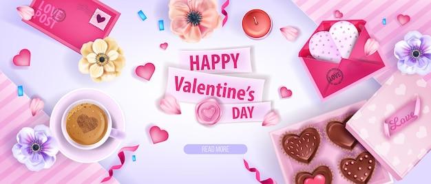 Dia dos namorados romântico fundo 3d com flores de anêmona, corações, caixa de bombons de chocolate. férias amor romântico plano leigo banner com café, envelopes, pétalas. fundo rosa dia dos namorados