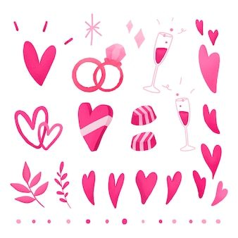 Dia dos namorados rosa amor doodle conjunto