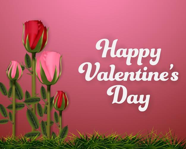 Dia dos namorados rosas e grama. bandeira de fundo