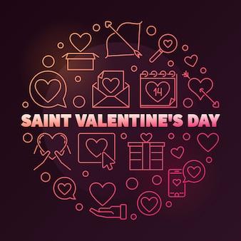 Dia dos namorados saint redondo ilustração linear colorida