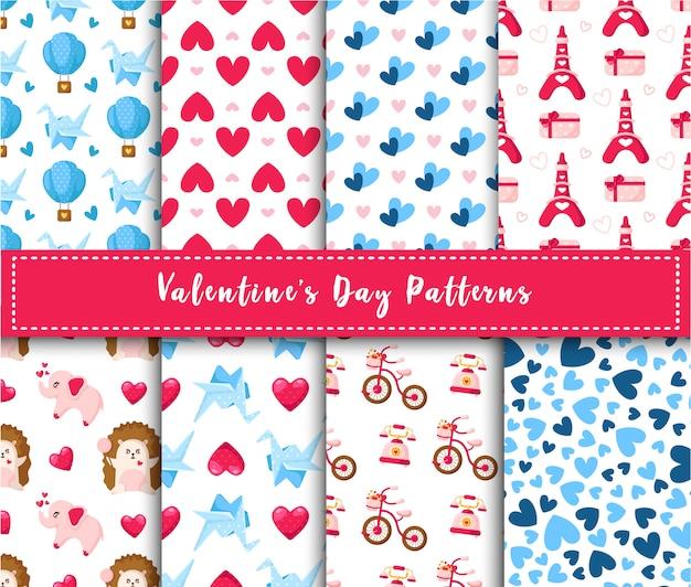 Dia dos namorados sem costura padrão conjunto - cartoon kawaii ouriço, elefante, guindaste de papel, balão