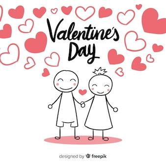 Dia dos namorados, sorrindo, par, fundo