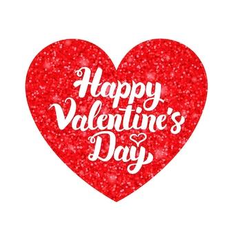 Dia dos namorados vermelho branco. ilustração em vetor de cartão de amor com caligrafia.