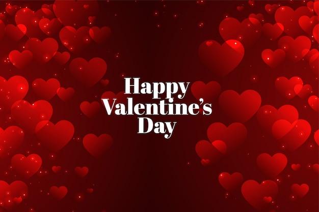 Dia dos namorados vermelho com muitos corações cartão