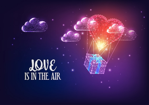 Dia dos namorados, voando, coração, forma, balão ar quente, e, presente, caixa, e, nuvens