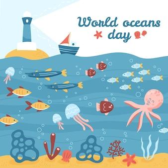 Dia dos oceanos farol e vida subaquática