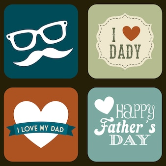 Dia dos pais cartão ilustração em vetor estilo retro