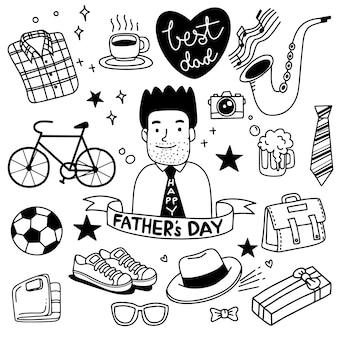 Dia dos pais. coleção de desenhos à mão de acessórios masculinos em fundo