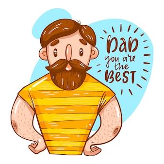 Dia dos pais com homem com barba
