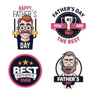 Dia dos pais desenhado emblemas conceito