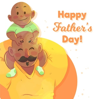 Dia dos pais em aquarela com pai e bebê