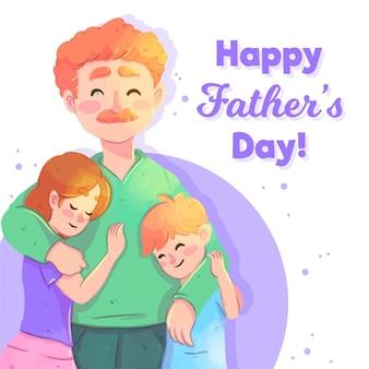 Dia dos pais em aquarela com pai e filhos