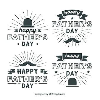 Dia dos pais emblemas coleção em estilo simples